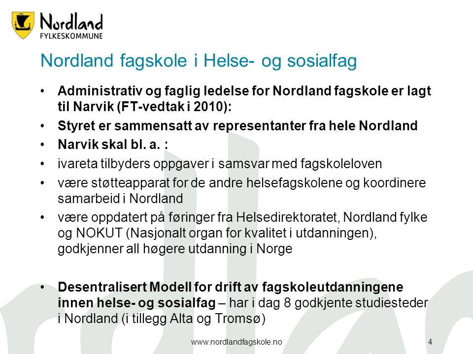 Nordland fagskole i Helse- og sosialfag Administrativ og faglig ledelse for Nordland fagskole er lagt til Narvik (FT-vedtak i 2010): Styret er sammensatt av representanter fra hele Nordland Narvik skal bl.