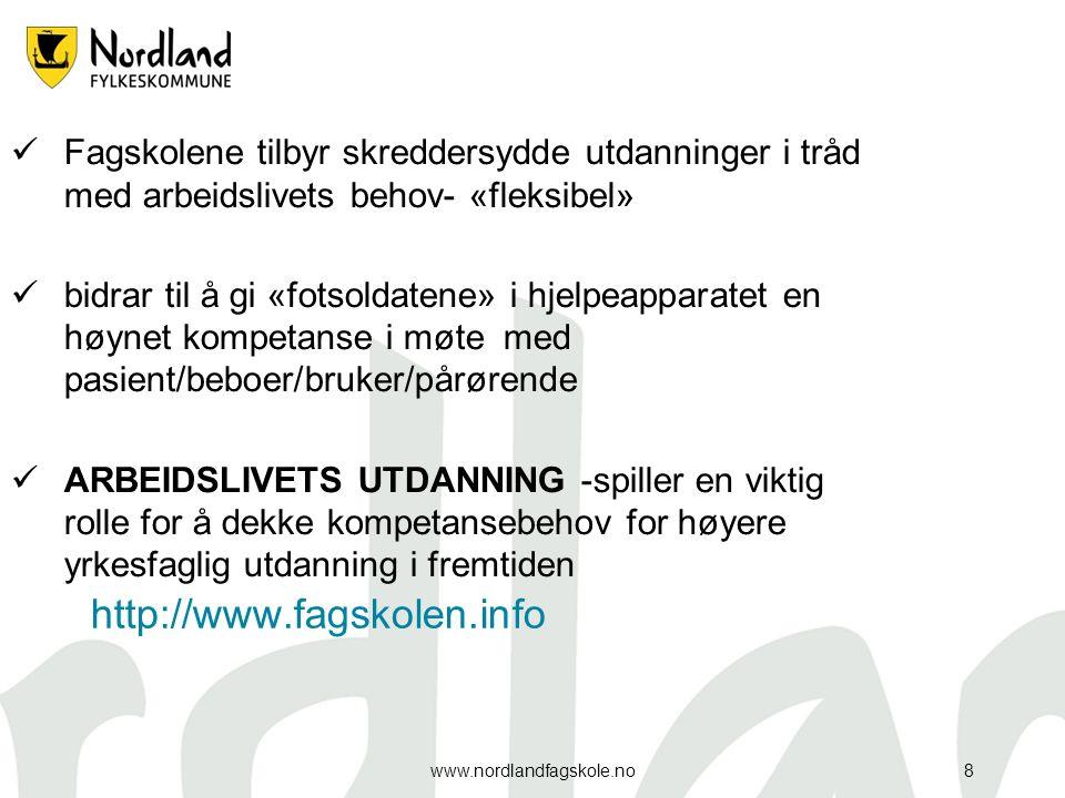 http://www.fagskolen.info www.nordlandfagskole.no8 Fagskolene tilbyr skreddersydde utdanninger i tråd med arbeidslivets behov- «fleksibel» bidrar til