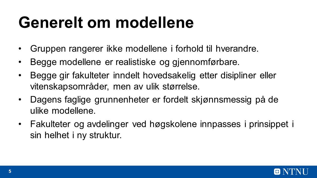 5 Generelt om modellene Gruppen rangerer ikke modellene i forhold til hverandre.