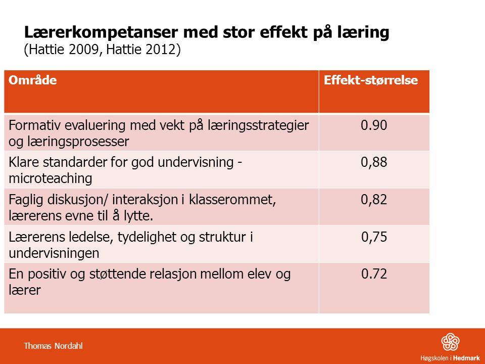 Lærerkompetanser med stor effekt på læring (Hattie 2009, Hattie 2012) OmrådeEffekt-størrelse Formativ evaluering med vekt på læringsstrategier og læringsprosesser 0.90 Klare standarder for god undervisning - microteaching 0,88 Faglig diskusjon/ interaksjon i klasserommet, lærerens evne til å lytte.