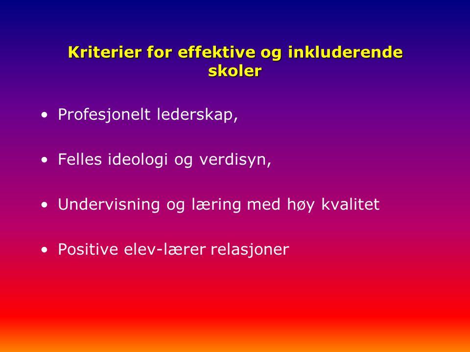 Kriterier for effektive og inkluderende skoler Profesjonelt lederskap, Felles ideologi og verdisyn, Undervisning og læring med høy kvalitet Positive elev-lærer relasjoner