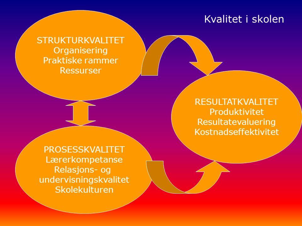 STRUKTURKVALITET Organisering Praktiske rammer Ressurser PROSESSKVALITET Lærerkompetanse Relasjons- og undervisningskvalitet Skolekulturen RESULTATKVALITET Produktivitet Resultatevaluering Kostnadseffektivitet Kvalitet i skolen