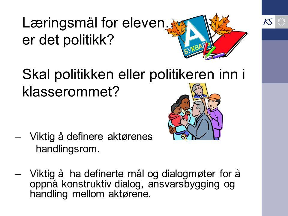 Læringsmål for eleven…. er det politikk? Skal politikken eller politikeren inn i klasserommet? –Viktig å definere aktørenes handlingsrom. –Viktig å ha