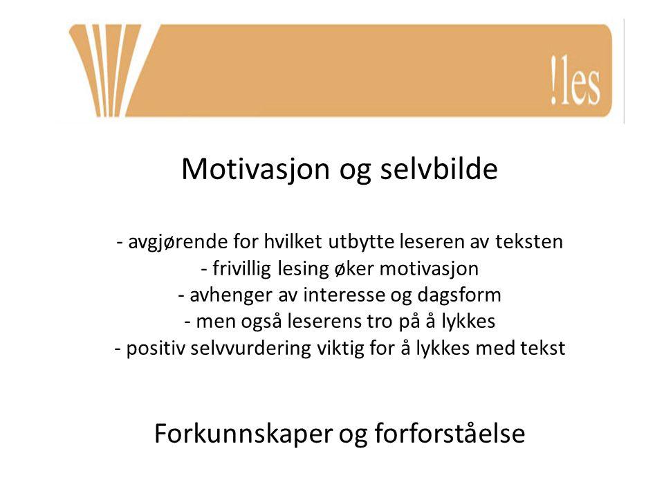 Motivasjon og selvbilde - avgjørende for hvilket utbytte leseren av teksten - frivillig lesing øker motivasjon - avhenger av interesse og dagsform - m