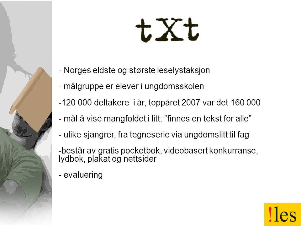 - Norges eldste og største leselystaksjon - målgruppe er elever i ungdomsskolen -120 000 deltakere i år, toppåret 2007 var det 160 000 - mål å vise ma