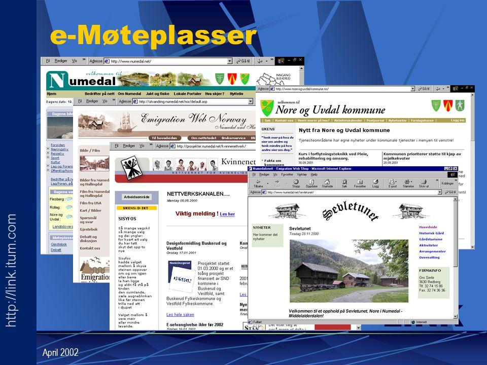 http://link.itum.com LINK April 2002 e-Møteplasser