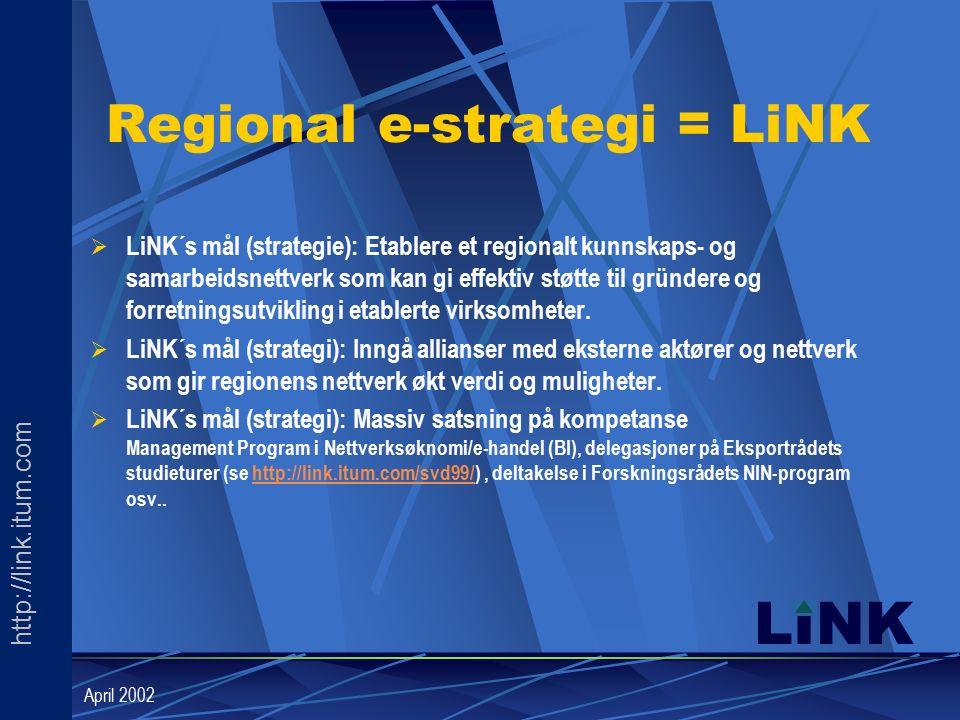 http://link.itum.com LINK April 2002 Regional e-strategi = LiNK  LiNK´s mål (strategie): Etablere et regionalt kunnskaps- og samarbeidsnettverk som kan gi effektiv støtte til gründere og forretningsutvikling i etablerte virksomheter.