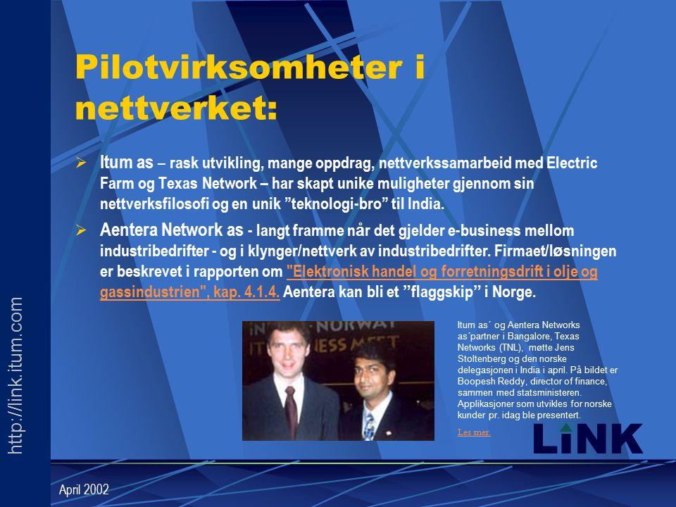 http://link.itum.com LINK April 2002 Pilotvirksomheter i nettverket:  Itum as – rask utvikling, mange oppdrag, nettverkssamarbeid med Electric Farm og Texas Network – har skapt unike muligheter gjennom sin nettverksfilosofi og en unik teknologi-bro til India.