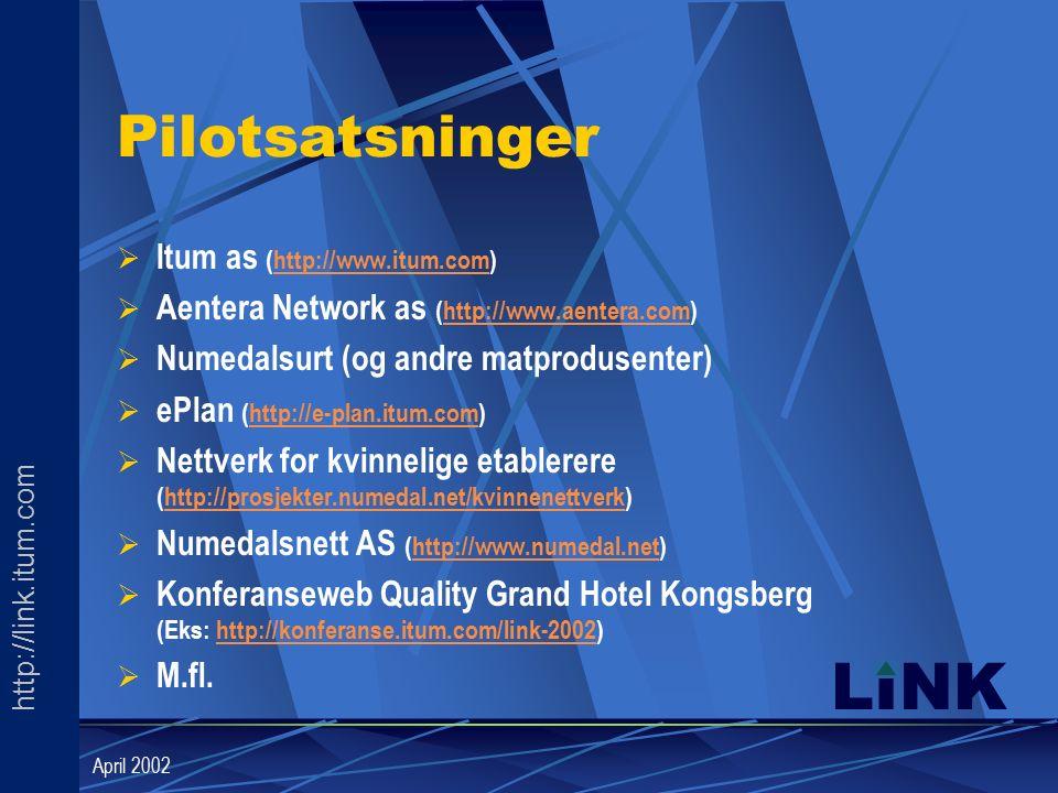 http://link.itum.com LINK April 2002 Pilotsatsninger  Itum as (http://www.itum.com)http://www.itum.com  Aentera Network as (http://www.aentera.com)http://www.aentera.com  Numedalsurt (og andre matprodusenter)  ePlan (http://e-plan.itum.com)http://e-plan.itum.com  Nettverk for kvinnelige etablerere (http://prosjekter.numedal.net/kvinnenettverk)http://prosjekter.numedal.net/kvinnenettverk  Numedalsnett AS (http://www.numedal.net)http://www.numedal.net  Konferanseweb Quality Grand Hotel Kongsberg (Eks: http://konferanse.itum.com/link-2002)http://konferanse.itum.com/link-2002  M.fl.
