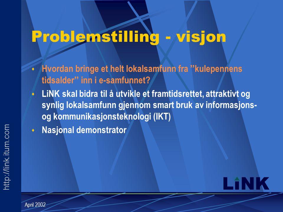 http://link.itum.com LINK April 2002 Problemstilling - visjon s Hvordan bringe et helt lokalsamfunn fra kulepennens tidsalder inn i e-samfunnet.