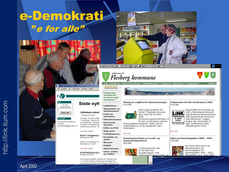 "http://link.itum.com LINK April 2002 e-Demokrati ""e for alle"""