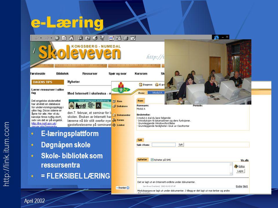 http://link.itum.com LINK April 2002 e-Læring s E-læringsplattform s Døgnåpen skole s Skole- bibliotek som ressursentra s = FLEKSIBEL LÆRING