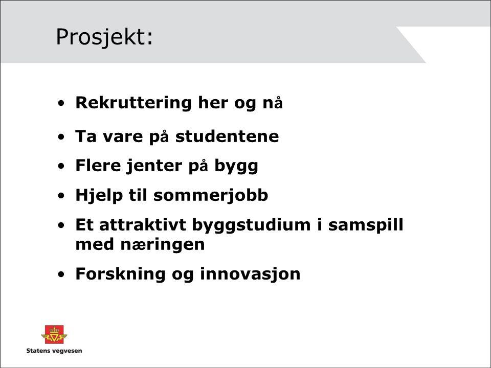 Prosjekt: Rekruttering her og n å Ta vare p å studentene Flere jenter p å bygg Hjelp til sommerjobb Et attraktivt byggstudium i samspill med n æ ringen Forskning og innovasjon