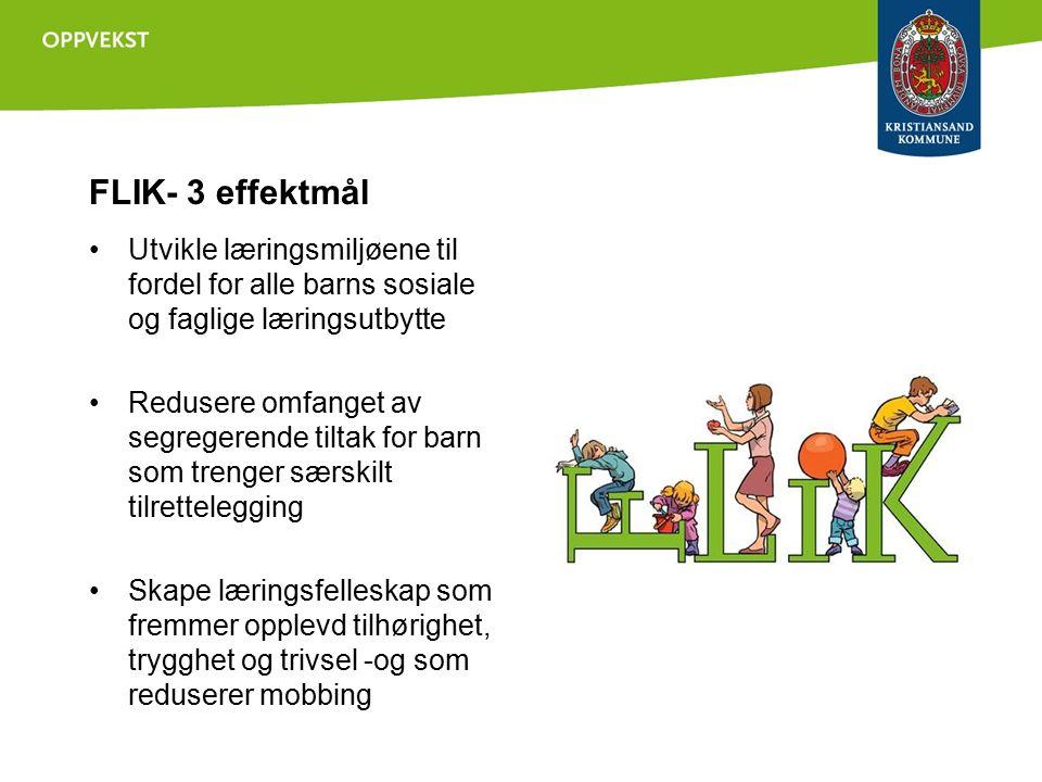 FLIK- 3 effektmål Utvikle læringsmiljøene til fordel for alle barns sosiale og faglige læringsutbytte Redusere omfanget av segregerende tiltak for barn som trenger særskilt tilrettelegging Skape læringsfelleskap som fremmer opplevd tilhørighet, trygghet og trivsel -og som reduserer mobbing