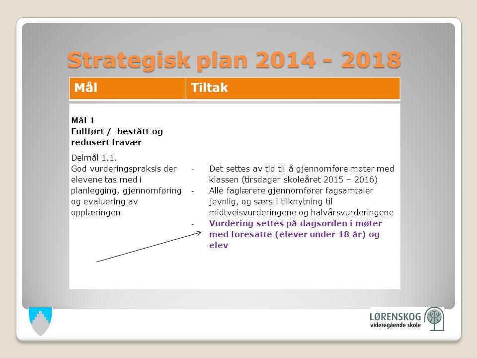 Strategisk plan 2014 - 2018 Strategisk plan 2014 - 2018 Mål 1 Fullført / bestått og redusert fravær Delmål 1.1.