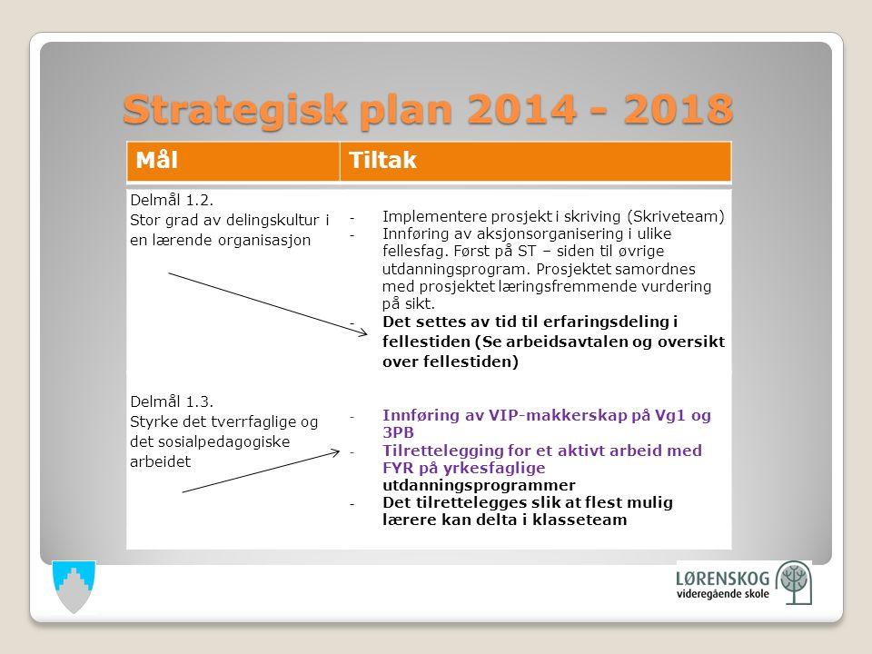 Strategisk plan 2014 - 2018 Strategisk plan 2014 - 2018 Delmål 1.2.