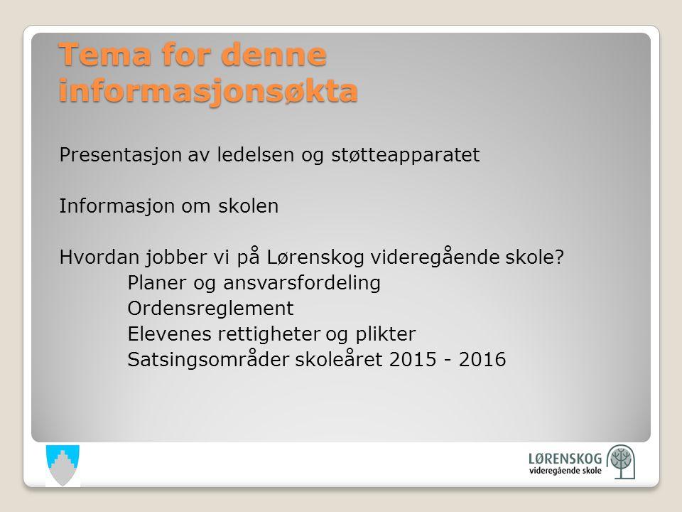 Tema for denne informasjonsøkta Presentasjon av ledelsen og støtteapparatet Informasjon om skolen Hvordan jobber vi på Lørenskog videregående skole.