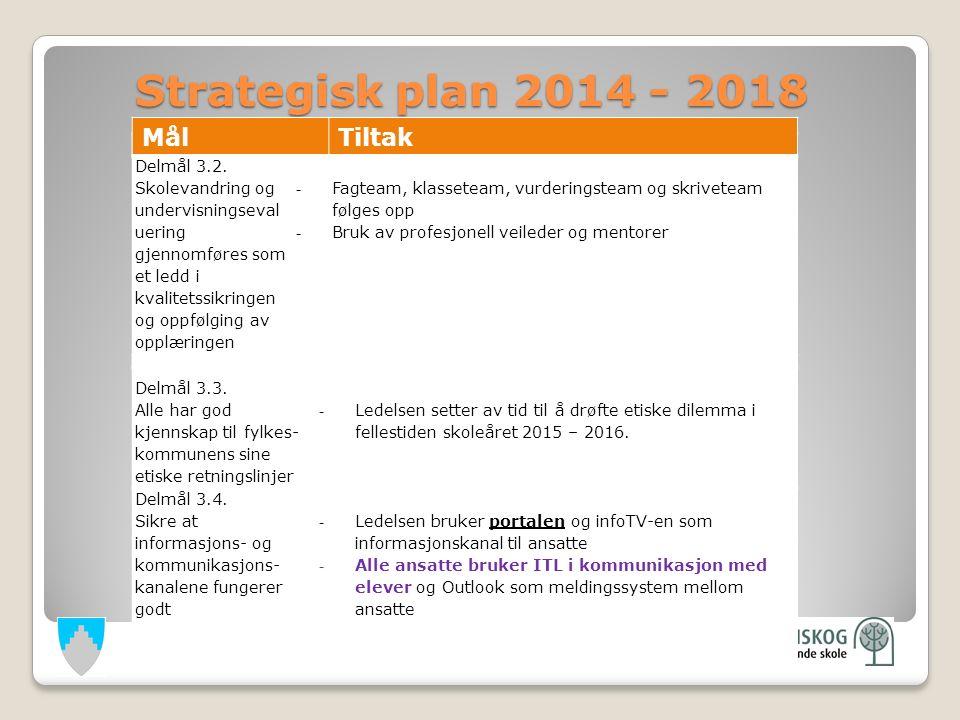 Strategisk plan 2014 - 2018 Strategisk plan 2014 - 2018 Delmål 3.3.