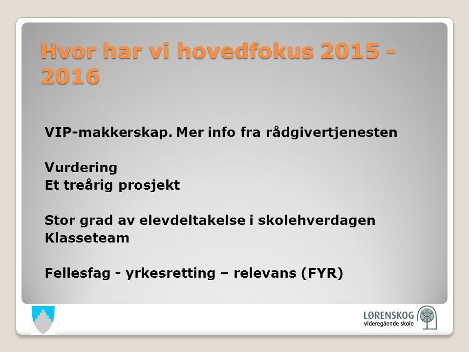 Hvor har vi hovedfokus 2015 - 2016 VIP-makkerskap.