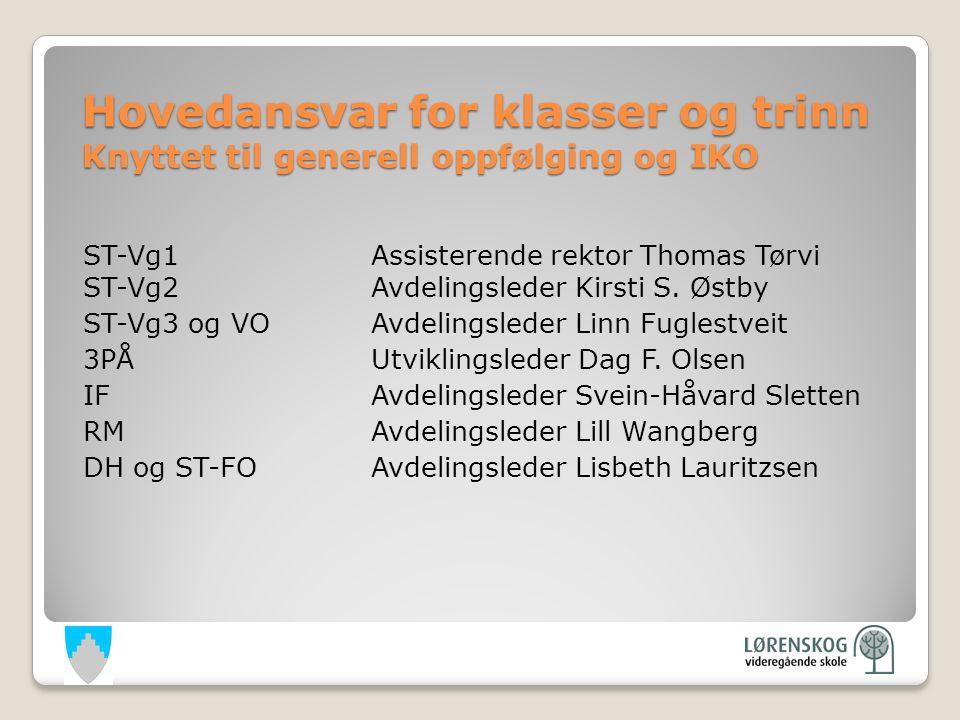 Hovedansvar for klasser og trinn Knyttet til generell oppfølging og IKO ST-Vg1Assisterende rektor Thomas Tørvi ST-Vg2Avdelingsleder Kirsti S.