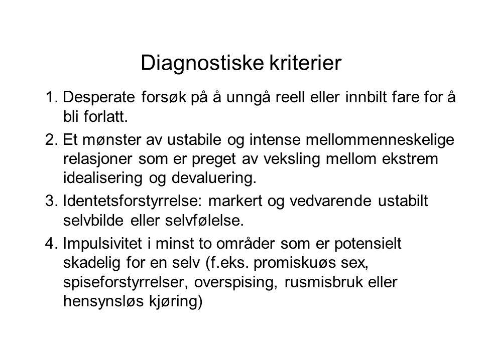Diagnostiske kriterier 1. Desperate forsøk på å unngå reell eller innbilt fare for å bli forlatt.