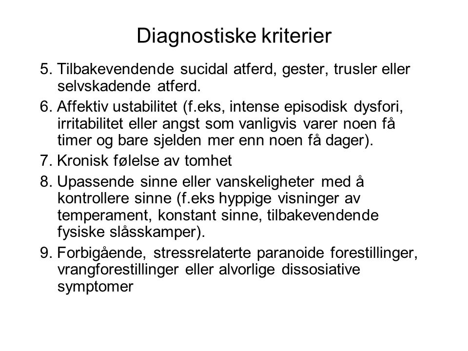 Diagnostiske kriterier 5.