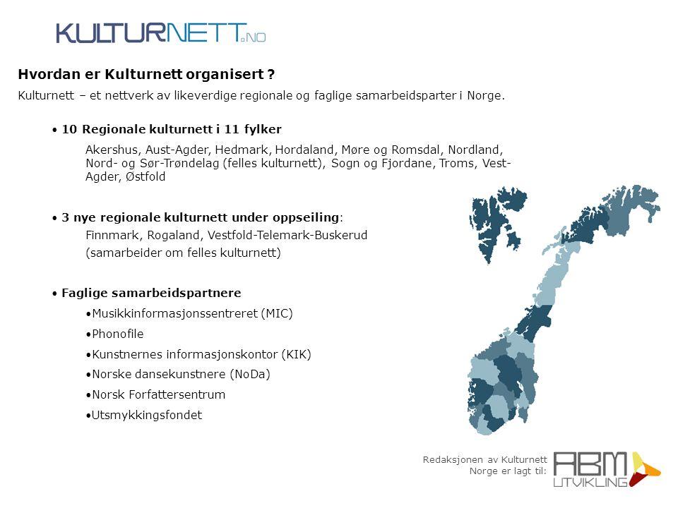 Redaksjonen av Kulturnett Norge er lagt til: Hvordan er Kulturnett organisert ? Kulturnett – et nettverk av likeverdige regionale og faglige samarbeid