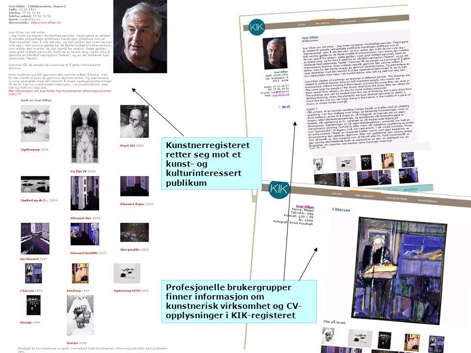 Kunstnerregisteret retter seg mot et kunst- og kulturinteressert publikum Profesjonelle brukergrupper finner informasjon om kunstnerisk virksomhet og