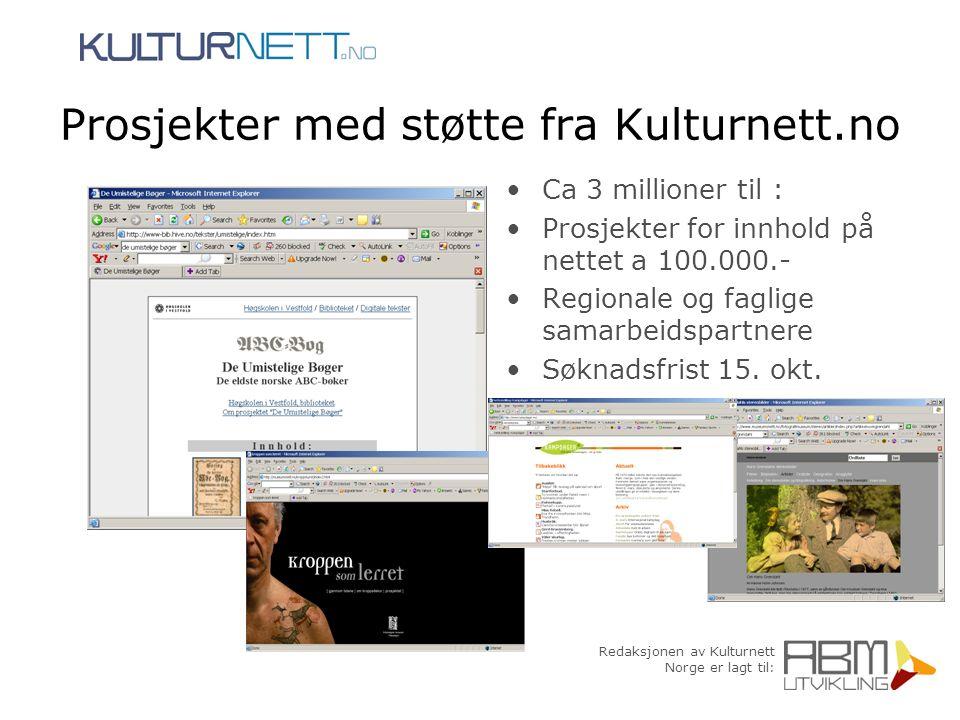 Redaksjonen av Kulturnett Norge er lagt til: Prosjekter med støtte fra Kulturnett.no Ca 3 millioner til : Prosjekter for innhold på nettet a 100.000.-