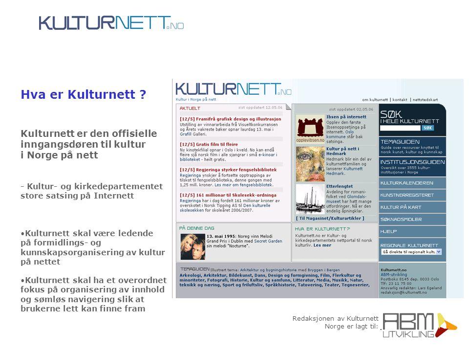 Redaksjonen av Kulturnett Norge er lagt til: Hva er Kulturnett ? Kulturnett er den offisielle inngangsdøren til kultur i Norge på nett - Kultur- og ki