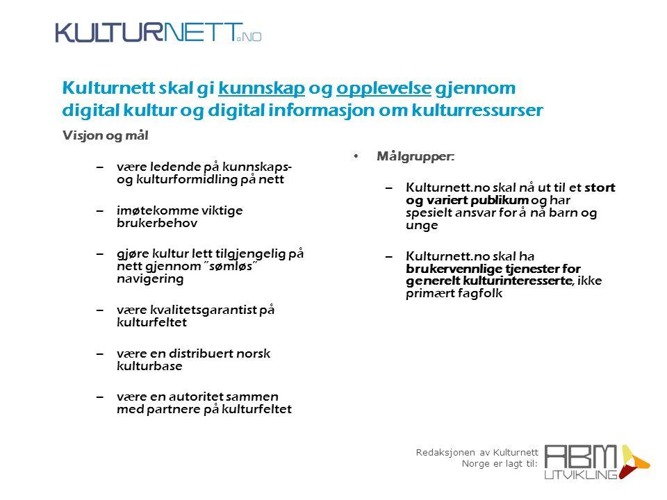 Redaksjonen av Kulturnett Norge er lagt til: Historie Kulturnett etablert med de fire sektornettene i 1998 Redaksjonen samlet og lagt til ABM-utvikling i 2003 Sommeren 2004 samles sektornettene i ett kulturnett - emnekartteknologien som tas i bruk åpner for et tettere samarbeid med regionale kulturnett og andre samarbeidspartnere 1998 2001 2003 2004 versjon 1 lansert 8.des versjon 2 lansert februar redaksjon samlet hos ABM-utvikling versjon 3 lansert juli 2004