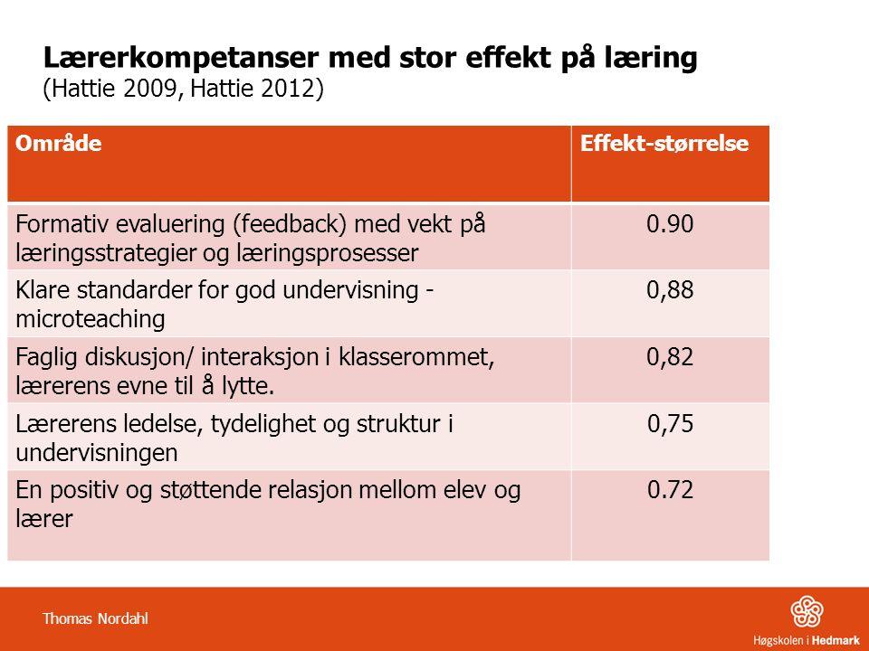 Lærerkompetanser med stor effekt på læring (Hattie 2009, Hattie 2012) OmrådeEffekt-størrelse Formativ evaluering (feedback) med vekt på læringsstrategier og læringsprosesser 0.90 Klare standarder for god undervisning - microteaching 0,88 Faglig diskusjon/ interaksjon i klasserommet, lærerens evne til å lytte.