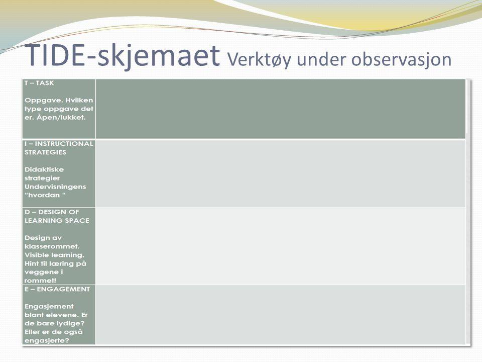 TIDE-skjemaet Verktøy under observasjon