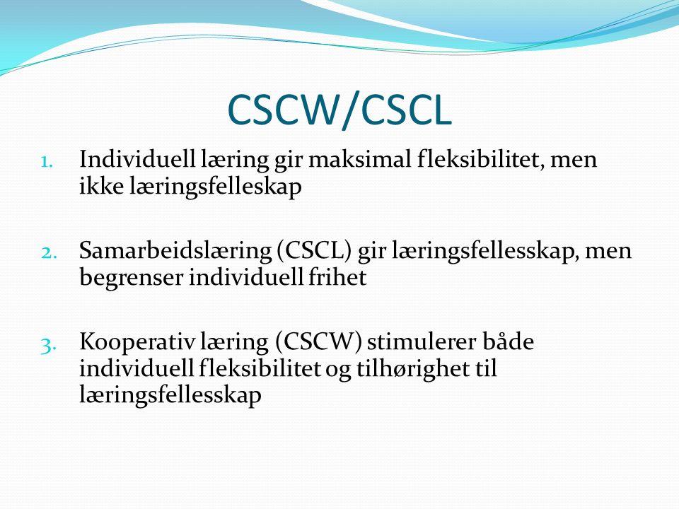 CSCW/CSCL 1. Individuell læring gir maksimal fleksibilitet, men ikke læringsfelleskap 2.