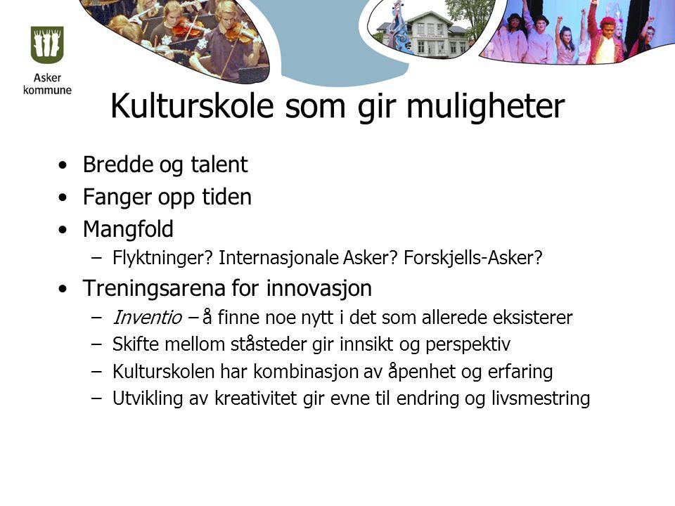 Kulturskole som gir muligheter Bredde og talent Fanger opp tiden Mangfold –Flyktninger.