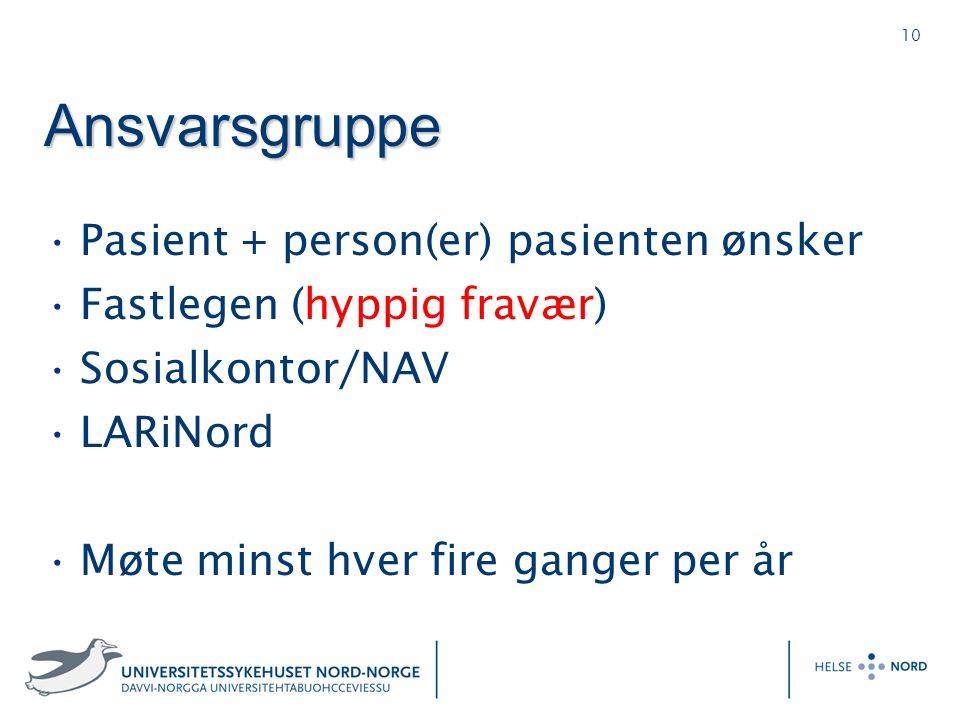 10 Ansvarsgruppe Pasient + person(er) pasienten ønsker Fastlegen (hyppig fravær) Sosialkontor/NAV LARiNord Møte minst hver fire ganger per år
