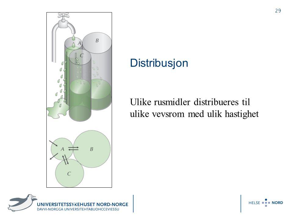 29 Distribusjon Ulike rusmidler distribueres til ulike vevsrom med ulik hastighet