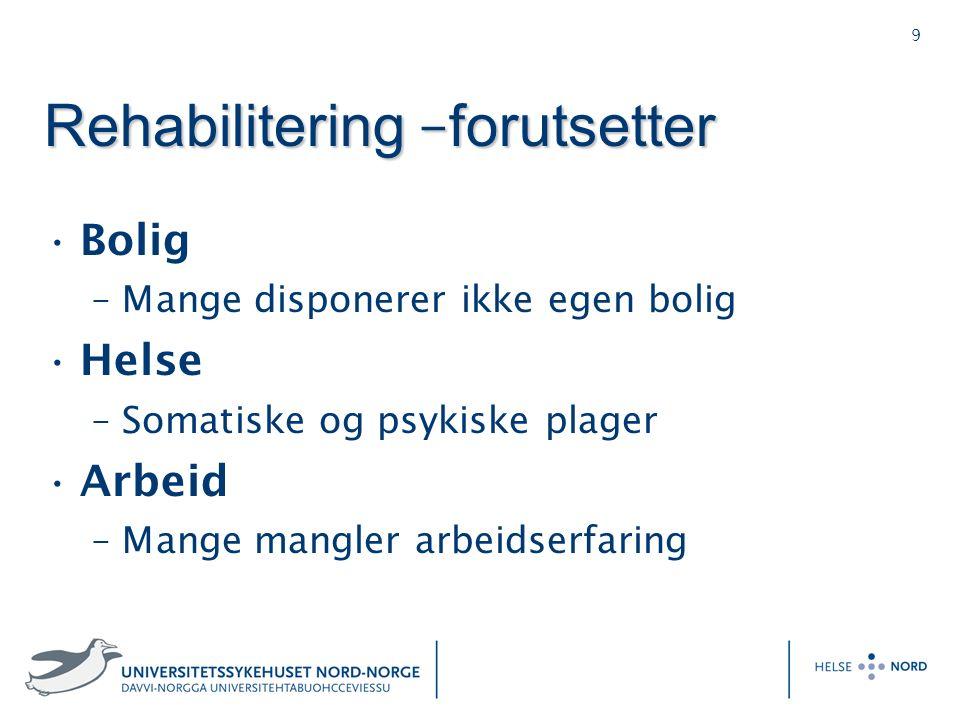 9 Rehabilitering – forutsetter Bolig –Mange disponerer ikke egen bolig Helse –Somatiske og psykiske plager Arbeid –Mange mangler arbeidserfaring