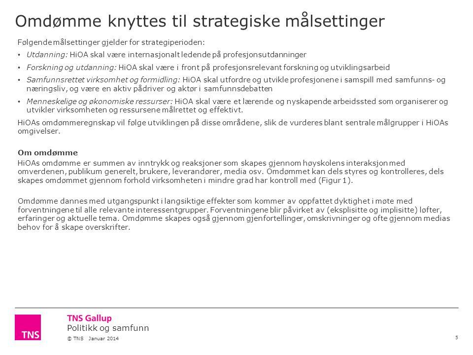 Politikk og samfunn © TNS Januar 2014 Omdømme knyttes til strategiske målsettinger 5 Følgende målsettinger gjelder for strategiperioden: Utdanning: Hi
