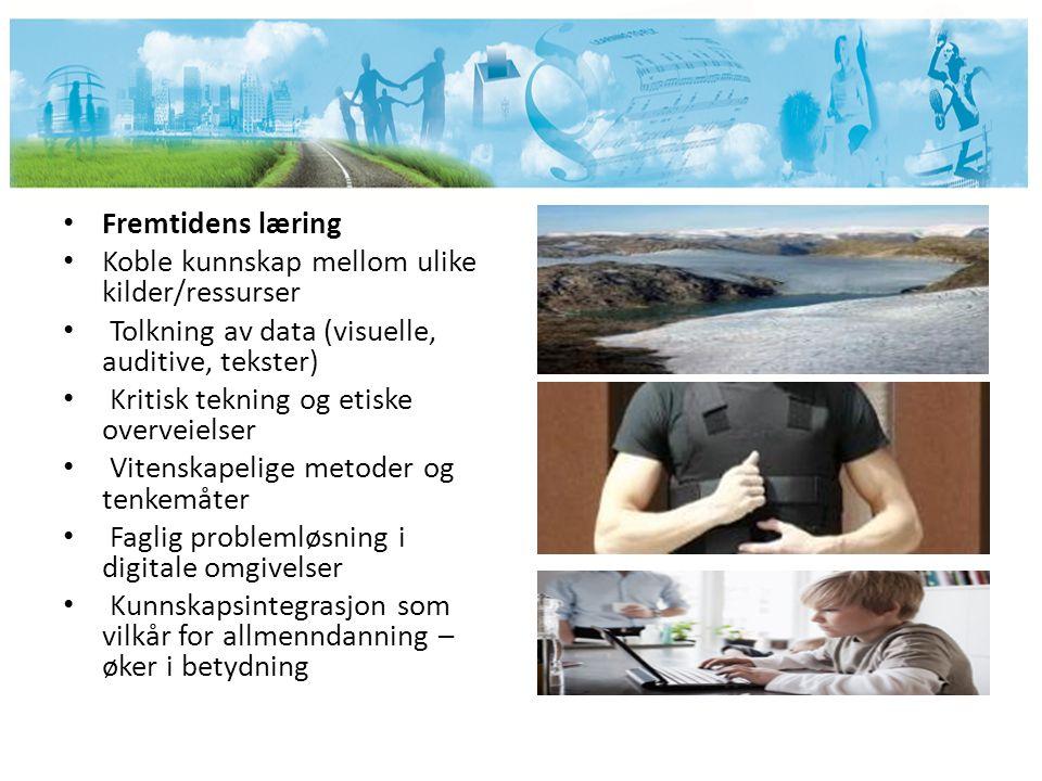 Fremtidens læring Koble kunnskap mellom ulike kilder/ressurser Tolkning av data (visuelle, auditive, tekster) Kritisk tekning og etiske overveielser V