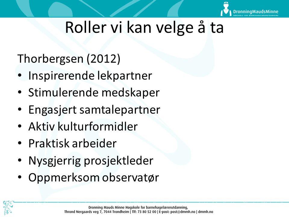 Roller vi kan velge å ta Thorbergsen (2012) Inspirerende lekpartner Stimulerende medskaper Engasjert samtalepartner Aktiv kulturformidler Praktisk arbeider Nysgjerrig prosjektleder Oppmerksom observatør