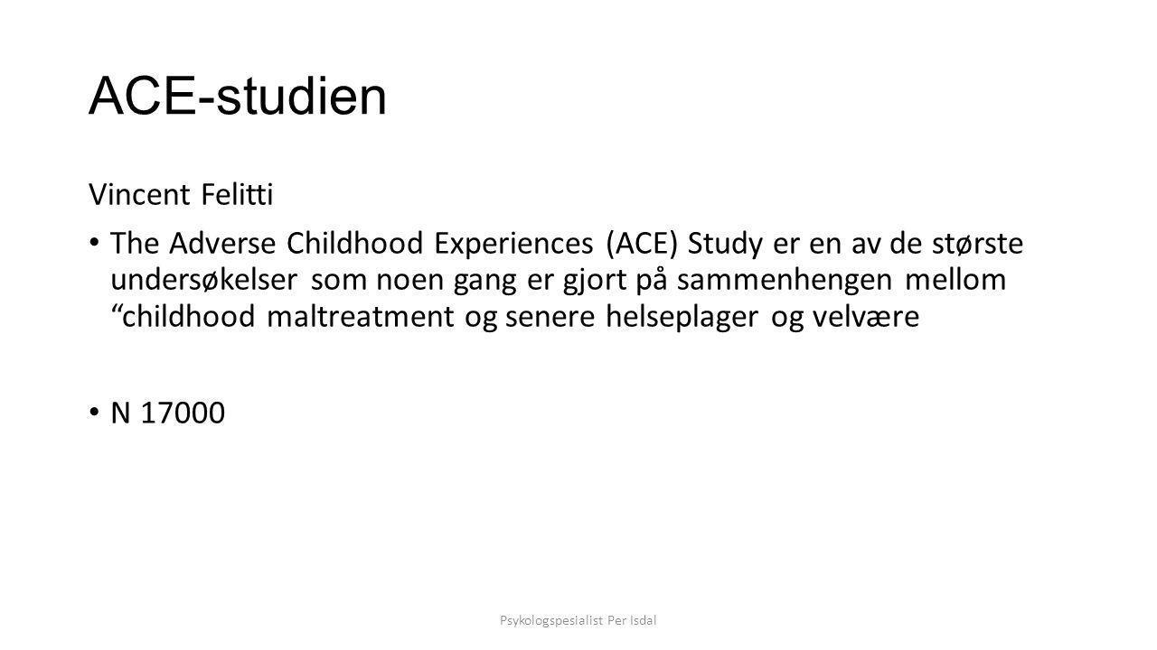 funn Funnene fra ACE-studien viser at negative barndomsopplevelser (adverse childhood experience) er hovedrisikofaktorer for de største årsaker til sykdom og død, samt lav livskvalitet, I USA.