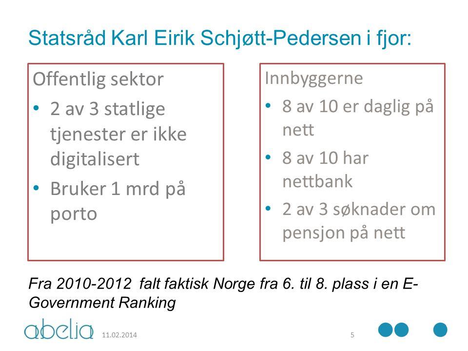 Statsråd Karl Eirik Schjøtt-Pedersen i fjor: Offentlig sektor 2 av 3 statlige tjenester er ikke digitalisert Bruker 1 mrd på porto Innbyggerne 8 av 10 er daglig på nett 8 av 10 har nettbank 2 av 3 søknader om pensjon på nett 11.02.20145 Fra 2010-2012 falt faktisk Norge fra 6.