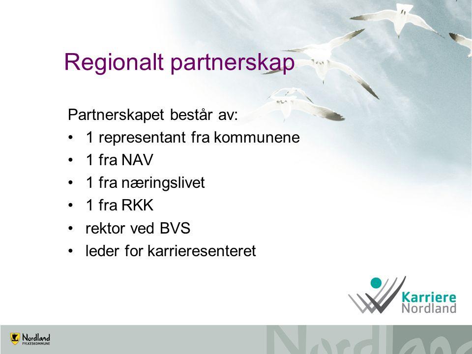 Regionalt partnerskap Partnerskapet består av: 1 representant fra kommunene 1 fra NAV 1 fra næringslivet 1 fra RKK rektor ved BVS leder for karrieresenteret