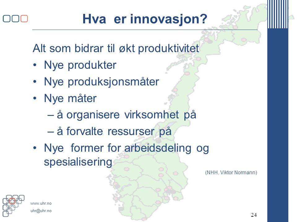 www.uhr.no uhr@uhr.no Hva er innovasjon.