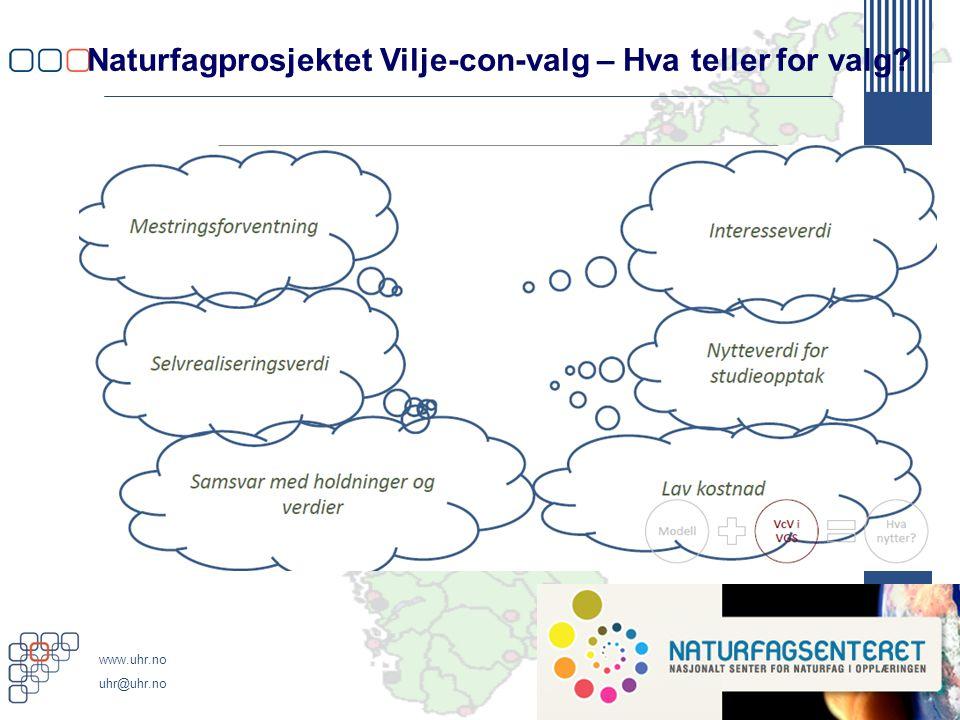 www.uhr.no uhr@uhr.no Naturfagprosjektet Vilje-con-valg – Hva teller for valg?