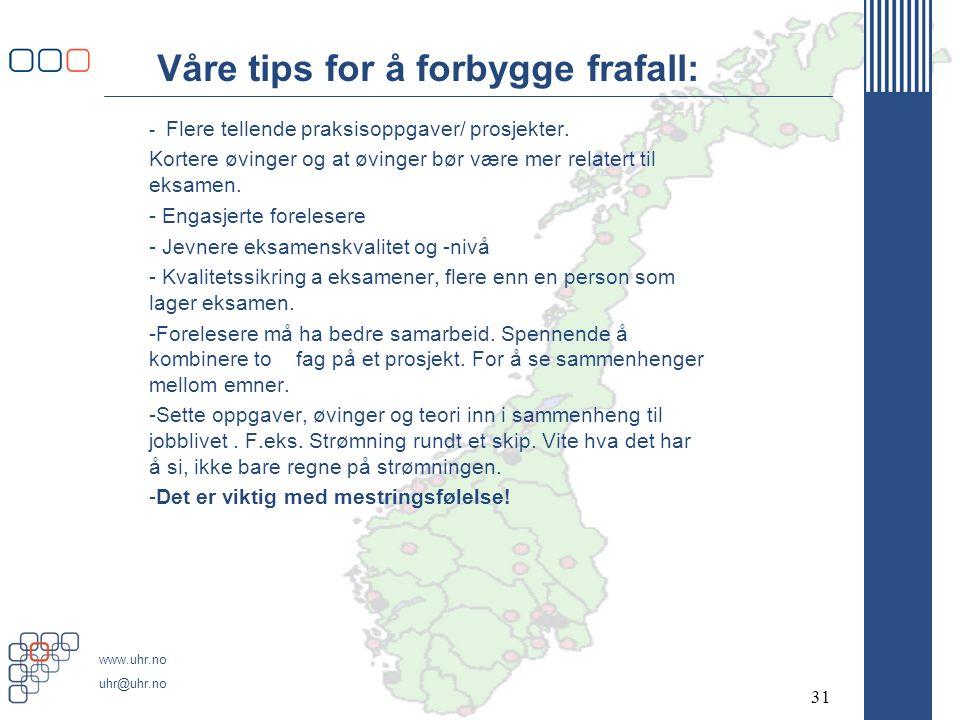 www.uhr.no uhr@uhr.no Våre tips for å forbygge frafall: - Flere tellende praksisoppgaver/ prosjekter.