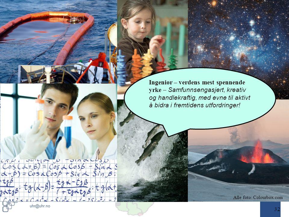www.uhr.no uhr@uhr.no 32 Alle foto: Colourbox.com Ingeniør – verdens mest spennende yrke – Samfunnsengasjert, kreativ og handlekraftig, med evne til aktivt å bidra i fremtidens utfordringer!