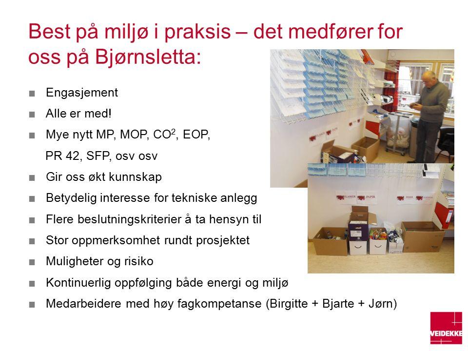 Best på miljø i praksis – det medfører for oss på Bjørnsletta: ■Engasjement ■Alle er med.