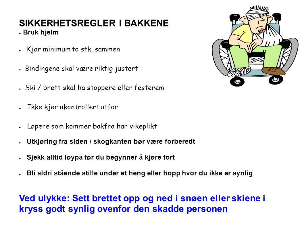 SIKKERHETSREGLER I BAKKENE ● Bruk hjelm ● Kjør minimum to stk.